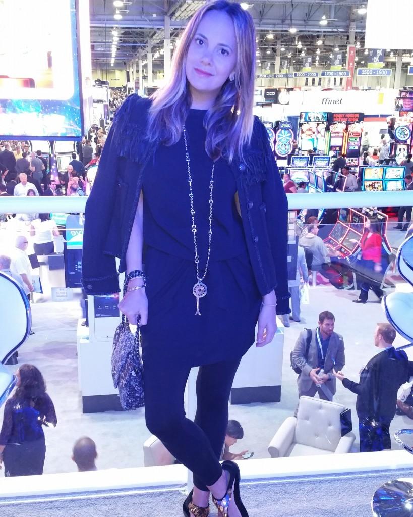 Seen here in Las Vegas, wearing my Chanel Jacket. Obsessed.