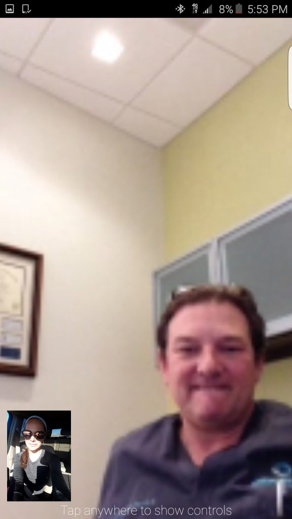 Face timing with my fertility doctor, Dr. Rey.